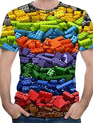 abordables -Tee-shirt Taille EU / US Homme, 3D / Arc-en-ciel Imprimé Col Arrondi Arc-en-ciel
