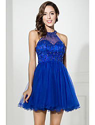cheap -A-Line Halter Neck Short / Mini Tulle Cocktail Party Dress with Beading / Crystals by JUDY&JULIA