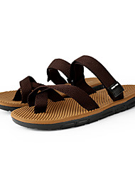 cheap -Men's Comfort Shoes Elastic Fabric Summer Casual Slippers & Flip-Flops Breathable Black / Brown