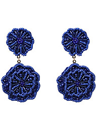 cheap -Women's Drop Earrings Braided Flower Trendy Resin Earrings Jewelry Black / Red / Blue For Daily Stage Street 1 Pair