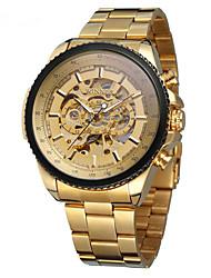 cheap -Men's Mechanical Watch Automatic self-winding Gold Hollow Engraving Analog Fashion - Gold White Black