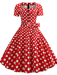 cheap -Women's Vintage A Line Dress Knee Length Dress Wine Rainbow Black Red Navy Blue Short Sleeve Polka Dot Print Bow Button Print Spring Summer Square Neck 1950s  Going out 2021 S M L XL XXL