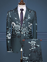cheap -White / Black / Army Green Floral Regular Fit Rayon / Polyester Men's Suit - Notch lapel collar