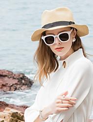 abordables -Fibre naturelle Chapeaux de paille avec Couleur Unie 1pc Décontracté / Usage quotidien Casque