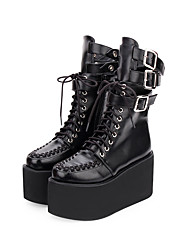 cheap -Women's Lolita Shoes Boots Punk Lolita Punk Creepers Shoes Solid Colored 10 cm Black PU Leather Halloween Costumes