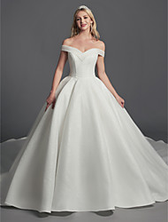 cheap -Ball Gown Wedding Dresses Off Shoulder Sweep / Brush Train Organza Satin Sleeveless Glamorous Plus Size with Draping 2021