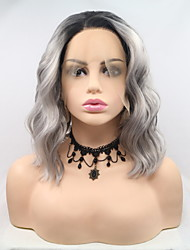 cheap -Synthetic Lace Front Wig Curly Matte Layered Haircut Lace Front Wig Short Grey Synthetic Hair 12 inch Women's Classic Hot Sale curling Black Gray Sylvia