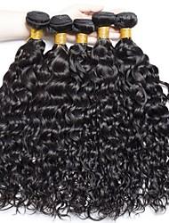cheap -6 Bundles Brazilian Hair Water Wave Virgin Human Hair Natural Color Hair Weaves / Hair Bulk Bundle Hair One Pack Solution 8-28 inch Natural Color Human Hair Weaves Odor Free Easy dressing Comfortable