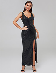 cheap -Sheath / Column Y Neck Floor Length Sequined Sexy Formal Evening Dress 2020 with Sequin / Split Front