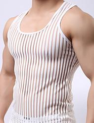 cheap -Men's Daily Sports Weekend Active Slim Tank Top - Striped Mesh Round Neck Black / Sleeveless / Summer