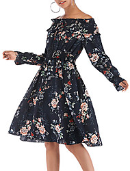 cheap -Women's Vintage Basic Sheath Chiffon Dress - Floral Print Blue White M L XL