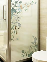 cheap -White Flowers Window Film & Stickers Decoration Matte / Floral Floral / Flower / Floral PVC(PolyVinyl Chloride) Matte Sticker / Window Sticker / Matte