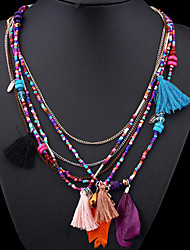 cheap -Women's Choker Necklace Collar Necklace Tassel Precious Vintage Boho Chrome Black Blue Rainbow 45 cm Necklace Jewelry For Christmas Halloween Party Evening Street Gift