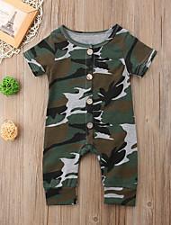 cheap -Baby Boys' Basic Print Short Sleeves Cotton Romper Army Green