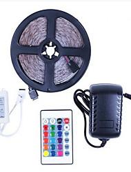 Недорогие -5m RGB полосы света 150 светодиодов 5050 smd 10 мм 1 пульт дистанционного управления 24 ключа / 1 х 12 В 3a блок питания RGB вечеринка / декоративные / подключаемый комплект 12 В 1