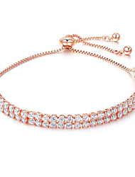 cheap -Women's White Cubic Zirconia Chain Bracelet Geometrical Star Casual / Sporty Fashion Brass Bracelet Jewelry Gold / White For Gift Daily