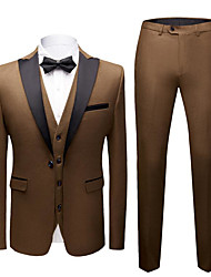 cheap -Gray / Dark Navy / Royal Blue Solid Colored Slim Fit Polyester Suit - Peak Single Breasted One-button