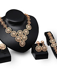 cheap -Women's Chain Bracelet Choker Necklace Band Ring Cut Out Flower Stylish Classic Rhinestone Gold Plated Earrings Jewelry Gold For Wedding Party 1 set / Bridal Jewelry Sets / Y Necklace