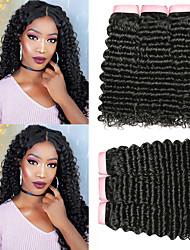 Недорогие -6 Связок Бразильские волосы Кудрявый Глубокий курчавый 100% Remy Hair Weave Bundles 300 g Головные уборы Человека ткет Волосы Пучок волос 8-28 дюймовый Естественный цвет Ткет человеческих волос