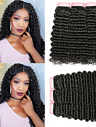 cheap -6 Bundles Brazilian Hair Curly Deep Curly 100% Remy Hair Weave Bundles 300 g Headpiece Natural Color Hair Weaves / Hair Bulk Bundle Hair 8-28 inch Natural Color Human Hair Weaves Odor Free Extender