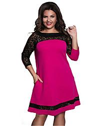 cheap -Women's Basic Elegant A Line Sheath Dress - Color Block Lace Patchwork Blue Blushing Pink Fuchsia XXXXL XXXXXL XXXXXXL