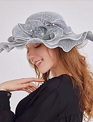 Недорогие -Жен. Активный Классический Симпатичные Стиль Широкополая шляпа Шляпа от солнца Сетка,Цветочный принт Все сезоны Розовый Бежевый Серый