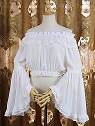 abordables -Style Gothique Sweet Lolita Chemisier / Chemise Costume de Cosplay Femme Mousseline de soie Dentelle Japonais Costumes de Cosplay Blanc / Noir Couleur Pleine Dentelle Manches Evasées Manches Longues