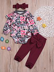 cheap -Baby Girls' Basic Print Long Sleeve Regular Cotton Clothing Set Red / Toddler
