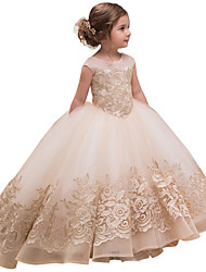 cheap -Princess Sweep / Brush Train Wedding / Birthday / Pageant Flower Girl Dresses - Cotton / Lace / Tulle Sleeveless Jewel Neck with Lace / Bow(s) / Embroidery