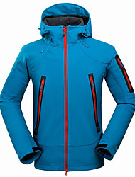cheap -Men's Hiking Softshell Jacket Hiking Jacket Winter Outdoor Thermal / Warm Waterproof Windproof Anti-Wear Jacket Top Fleece Full Length Visible Zipper Running Camping / Hiking Climbing Black / Orange