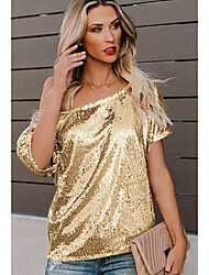 cheap -Women's Solid Colored Sequins T-shirt Off Shoulder Black / Blue / Blushing Pink / Gold / Silver