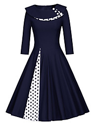 cheap -Women's Vintage Swing Dress - Solid Colored Patchwork Black Navy Blue L XL XXL