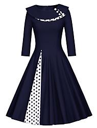 abordables -Femme Rétro Vintage Midi Balançoire Robe - Mosaïque, Couleur Pleine Noir Marine L XL XXL Manches Longues