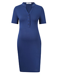 cheap -Women's Maternity Knee-length Sheath Dress - Short Sleeve Solid Colored Bow Basic Navy Blue S