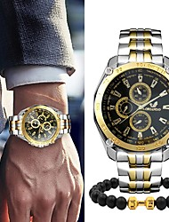 cheap -Men's Steel Band Watches Quartz Gift Set Stainless Steel Silver / Gold No Chronograph Cute Creative Analog New Arrival Fashion - Silver / Black Gold / Silver / White Gold / Silver / Black One Year