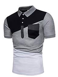 Недорогие -Муж. Контрастных цветов Polo Рубашечный воротник Белый / Черный / Светло-серый