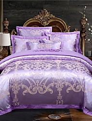 cheap -Duvet Cover Sets Stripes / Ripples Cotton Jacquard 4 PieceBedding Sets