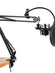 cheap -Microphone Scissor Arm Stand and Table Mounting Clamp and Filter Windscreen Shield Metal Mount Kit
