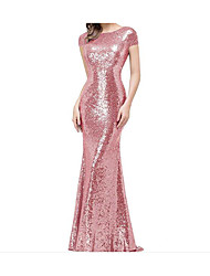 cheap -Mermaid / Trumpet Jewel Neck Sweep / Brush Train Sequined Sparkle & Shine / Elegant Formal Evening Dress 2020 with Sequin