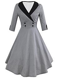 cheap -Women's Vintage Swing Dress - Houndstooth Black L XL XXL