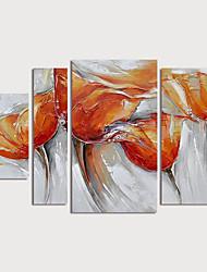 Недорогие -Hang-роспись маслом Ручная роспись - Цветочные мотивы / ботанический Modern Включите внутренний каркас / 4 панели