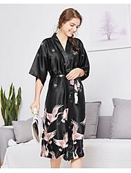 Недорогие -Нормальная Полиэфир Халаты Сексуальные платья Жаккард Свадьба Вышивка бисером в виде цветов Пижамы