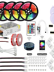 cheap -KWB Led Controller Power WiFi Wireless Smart Controlled Kit 5050 10mm 20M(4x5m) RGB Waterproof 12V 20A Power Supply and 1Set Mounting Bracket Works with Android and iOS System Google Assistant and Ale
