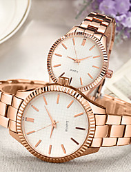 cheap -Couple's Steel Band Watches Quartz Stainless Steel Rose Gold 30 m Water Resistant / Waterproof Creative Casual Watch Analog Classic Fashion - White Black One Year Battery Life
