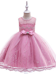 cheap -Ball Gown Knee Length Flower Girl Dress - Cotton Blend / Tulle Sleeveless Jewel Neck with Appliques / Bow(s) / Lace