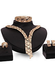 cheap -Women's Bracelet Bangles Stud Earrings Bridal Jewelry Sets Cut Out Precious Stylish Classic Imitation Pearl Rhinestone Gold Plated Earrings Jewelry Gold For Wedding Party 1 set / Y Necklace