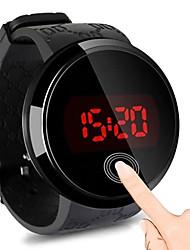 Недорогие -Муж. электронные часы Цифровой Pезина Черный 30 m Защита от влаги Сенсорный экран Повседневные часы Цифровой LED Мода - Черный Один год Срок службы батареи / Нержавеющая сталь