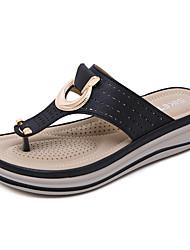 cheap -Women's Slippers & Flip-Flops Wedge Heel Open Toe PU Vintage / Casual Summer Black / Almond / Khaki