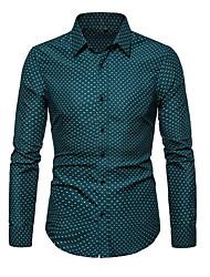 cheap -Men's Plus Size Polka Dot Shirt Wine / White / Green / Navy Blue