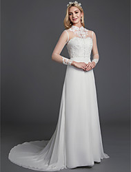 cheap -A-Line Wedding Dresses High Neck Court Train Chiffon Lace Long Sleeve Vintage Plus Size Backless with Lace Buttons 2020 / Illusion Sleeve